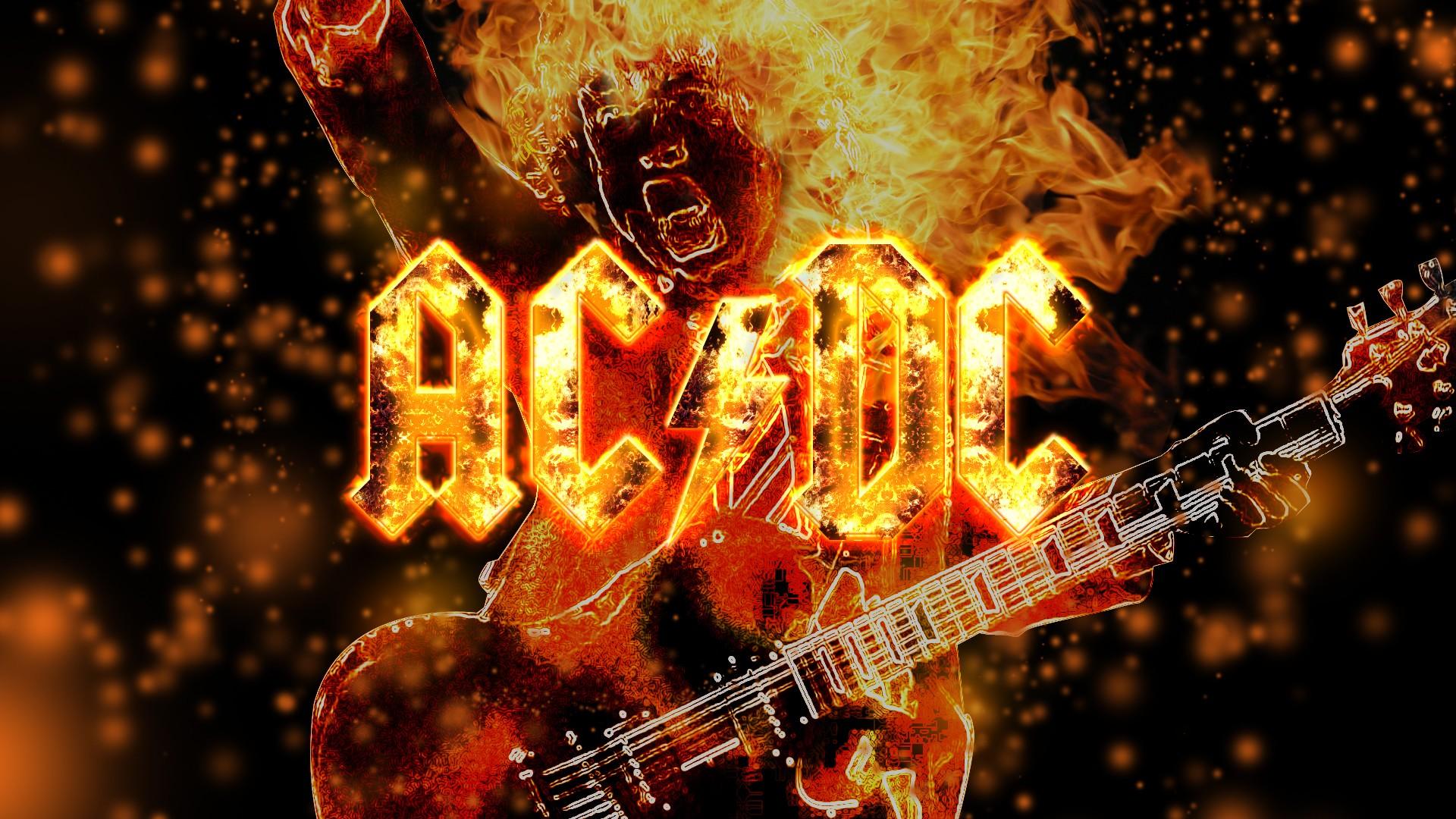 AC/DC乐队火焰效果壁纸