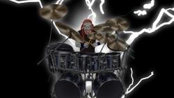 摇滚高清图片架子鼓手卡通风格桌面壁纸